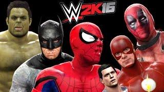 getlinkyoutube.com-Superman vs Spiderman vs Deadpool vs Hulk vs Batman vs Flash - WWE 2K16