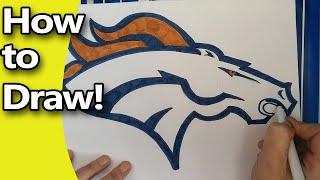 getlinkyoutube.com-How to Draw The Denver Broncos Logo  Step by Step, by hand
