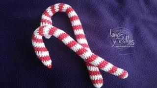 getlinkyoutube.com-Tutorial Caramelo Navidad Candy Cane Crochet o Ganchillo Paso a Paso en Español