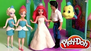 getlinkyoutube.com-Play Doh Princess Ariel Flip n Switch Castle MagiClip Mermaid Disney Frozen Elsa Anna & Prince Eric