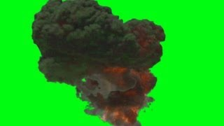 explosion with strong smoke cloud - green screen effect