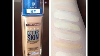 getlinkyoutube.com-NEW Maybelline Superstay Better Skin Foundation Review Demo Swatches
