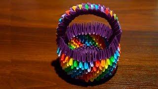 getlinkyoutube.com-3D origami Rainbow Easter basket for eggs of paper tutorial