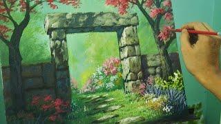 getlinkyoutube.com-Acrylic Painting Lesson - Gateway to Flower Garden by JM Lisondra