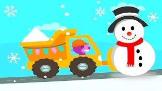 getlinkyoutube.com-Новогодние Машинки Саго Мини для детей и строительство снежного замка. Новый Год и Машины Sago Mini