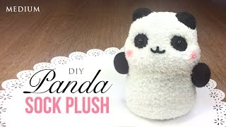 getlinkyoutube.com-How to Make Panda Plush Using Socks! Kawaii Budget DIY