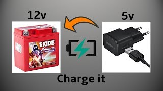 How to Charge 12volt Bike Battery with 5volt Mobile Phone Charger width=