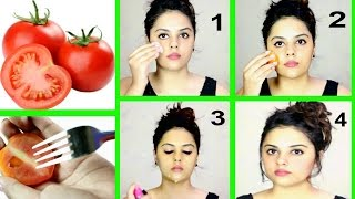 getlinkyoutube.com-TOMATO FACIAL AT HOME FOR CLEAR & GLOWING SKIN | Tanutalks |