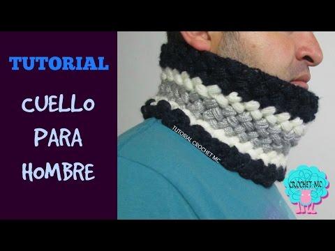 Tutorial cuello para hombre a crochet
