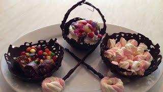 getlinkyoutube.com-How to make chocolate baskets with sweet decoration
