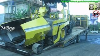 getlinkyoutube.com-Self Loader Truck Nissan Diesel Unloading Asphalt Paver
