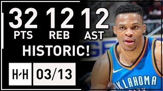 Russell Westbrook HISTORIC 100th Triple-Double Highlights vs Hawks 2018.03.13 - 32 Pts 12 Reb 12 Ast