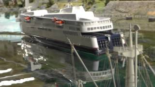 HO scale RC ship to harbour in Miniatur Wunderland, Hamburg, 17 JAN 2014