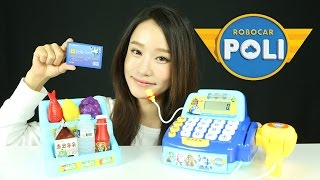 getlinkyoutube.com-로보카폴리 마이크가 있는 폴리 계산대 장난감 캐리 엠버 폴리 마트놀이 Robocar Poli Counter toys Робокар Поли Игрушки CarrieAndToys