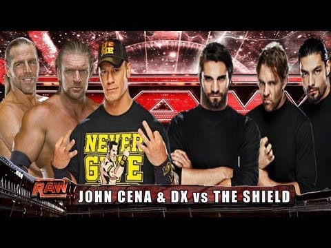 WWE RAW John Cena, Triple H & Shawn Michaels vs Dean Ambrose, Seth Rollins & Roman Reigns HD