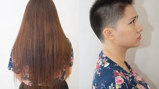 Haircut #563  Super Long to Pixie 超ロング⇒超ベリーショート