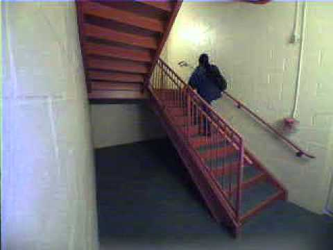 Intruder in stairwell