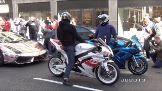 getlinkyoutube.com-Superbikes and Supercars Go Crazy in the City!!