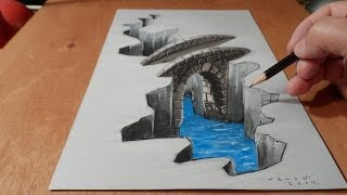 getlinkyoutube.com-Drawing Bridge, How I Draw 3D Trick Art