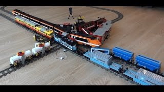 getlinkyoutube.com-Enormous 6 Lego train crash with Horizon Express, Maersk, 7755, 7740, 7745, 3677