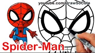 getlinkyoutube.com-How to Draw SpiderMan Cute step by step