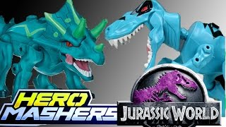getlinkyoutube.com-Jurassic World T-Rex and Triceratops Hero Mashers