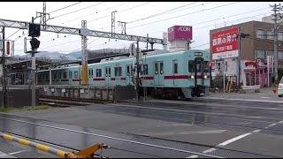 踏切が閉まる前にフライング発車? 西鉄二日市駅横 二日市1号踏切で行きかう電車を見る