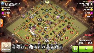 getlinkyoutube.com-Clan war 3 stars with lightning spell max th10