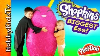getlinkyoutube.com-Worlds Biggest SHOPKINS Egg! Toys Inside Season 2 SURPRISE Kinder Chocolate MLP HobbyKidsTV