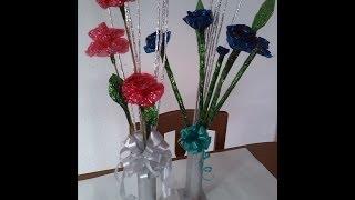 getlinkyoutube.com-Flores Aluminio y celofan!!!