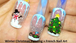 Winter Christmas Painting + French Nail Art