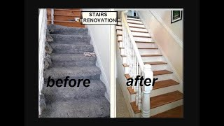 getlinkyoutube.com-DIY STAIRS RENOVATION,  with Spindles- Remove CARPET, woodfill WOOD, crackfill risers
