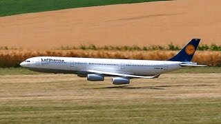 getlinkyoutube.com-AIRBUS A340-300 LUFTHANSA GIGANTIC RC AIRLINER MODEL JET LOW PASS FLIGHT / RC Airliner Airshow 2015