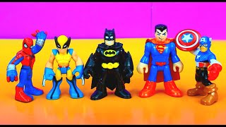 getlinkyoutube.com-Imaginext Playskool Batman, Spider-man, Wolverine, Superman, Captain America train  for battle