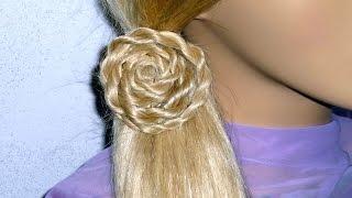 getlinkyoutube.com-Причёска с плетением косички жгут самой себе для средних, длинных волос.Цветок из волос