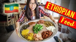getlinkyoutube.com-ETHIOPIAN FOOD Family Style with Meat & Vegetarian Combo