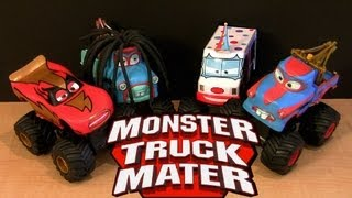 getlinkyoutube.com-Power Punch Monster Truck Rasta Mater, I-Screamer, Tormentor 2013 Lightning McQueen Cars Toon Disney
