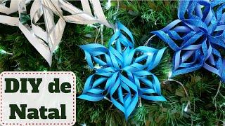 Decoração de NATAL baratinha #7: Estrela ou flor de papel  DIY - Faça você mesmo
