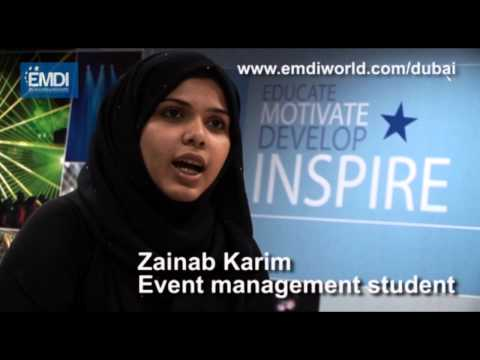Zainab Karim on EMDI's Event Management Course. Call +971 4 433 2833