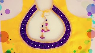 getlinkyoutube.com-Designer Bridal Back Neck Blouse Pattern - 3 (DIY)