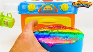Toy Learning Video for Toddlers - Learn Shapes, Colors, Food Names, Counting with a Birthday Cake! width=