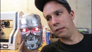getlinkyoutube.com-3D Printing: T-800 head printed on Robo 3D