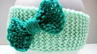 getlinkyoutube.com-Tuto tricot bandeau facile pour bébé avec un nœud papillon