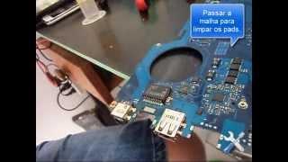 Troca conector rj45 notebook RV415 RV419 RV411