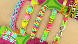getlinkyoutube.com-How to Make Loom Bands. 5 Easy Rainbow Loom Bracelet Designs without a Loom - Rubber band Bracelets