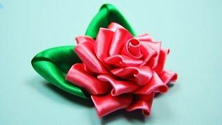 getlinkyoutube.com-Ажурная РОЗА Канзаши. Мастер-класс  / Satin Ribbon Rose Tutorial Kanzashi / ✿ NataliDoma