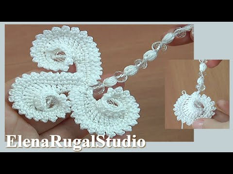 Crochet Element With Crystal Beads Tutorial 76