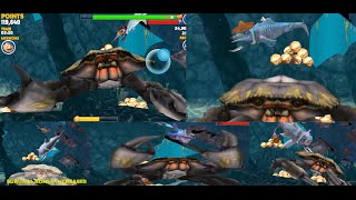 GWS , MEGALODON , BIG DADDY , MR. SNAPPY & ALAN vs GIANT CRAB - Hungry Shark Evolution