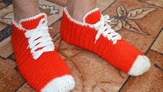 "getlinkyoutube.com-""Носки-кеды крючком для мужчин"" (Socks-shoes crochet for men)"