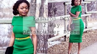 getlinkyoutube.com-Fashion DIY OOTD 2 Way Offshoulder Turtle Neck Midi Bodycon Dress